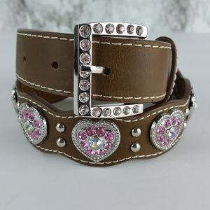 Nocona Girl's Brown Scalloped Leather Western Belt